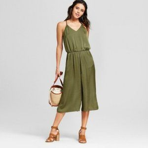 Cropped Silky Green Xhilaration Jumpsuit